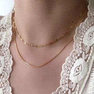 NEW 18K Gold Plated Double Layer Chain Necklace 0